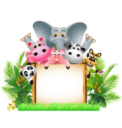 funny animal cartoon with board vector image
