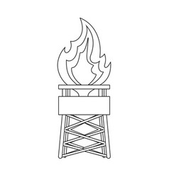 Gas toweroil single icon in outline style vector