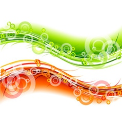 green and red wave on the white vector image vector image