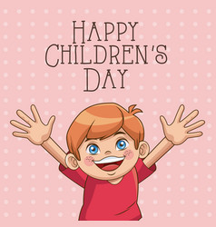 Happy children day card cute boy wearing red vector