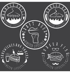 Hipster style food labels vintage set vector