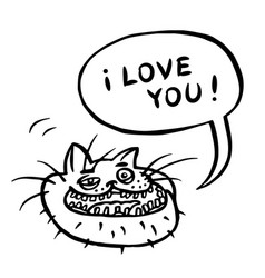 I love you cartoon cat head vector