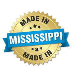 Made in mississippi gold badge with blue ribbon vector