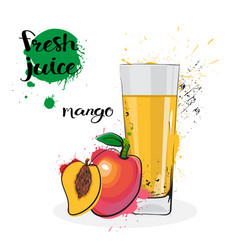 Mango juice fresh hand drawn watercolor fruits and vector