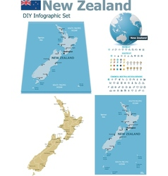 New zealand maps with markers vector