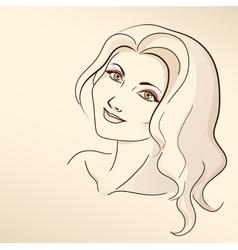 Portrait of woman in pastel tones vector