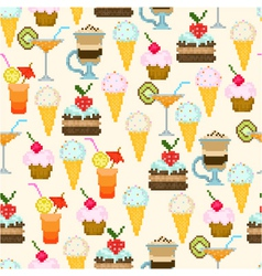 seamless pattern with drinks and sweets vector image vector image