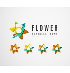 Set of abstract flower logo business icons vector image