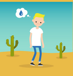 Thirsty blond boy dreaming about water flat vector