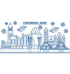 Usa ohio cincinnati winter city skyline merry vector
