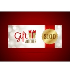 Voucher template with gift box and bow vintage vector