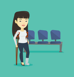 woman with broken leg and crutches vector image