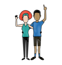 Young happy couple parent or couple gesturing with vector