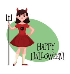 Happy girl dressed as devil for halloween vector