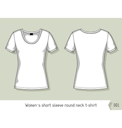 Women short sleeve round neck t-shirt template vector