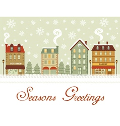 Cute city seasons greetings vector