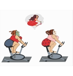 Fat girls are trainin on the bicycle vector