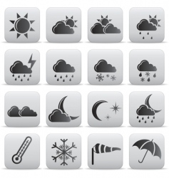 Weather icons grey buttons vector