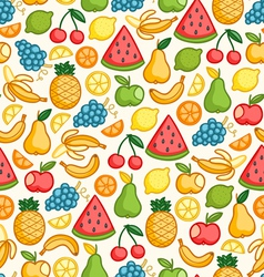 Fruits doodle pattern in color vector