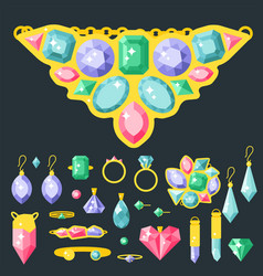 Jewelry items gold elegance gemstones vector