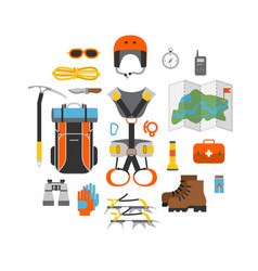 Icon set flat design equipment for climbing vector