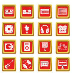 recording studio items icons set red vector image