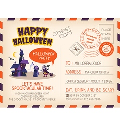 Happy halloween party vintage postcard invitation vector