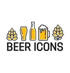 Set of colorful beer icons vector