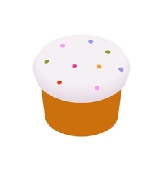 Easter cake glazed with icing and raisins icon vector