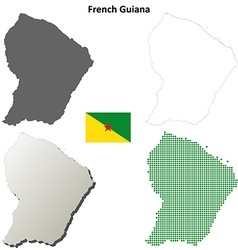 French guiana outline map set vector