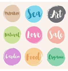 Set of water colour style label vector