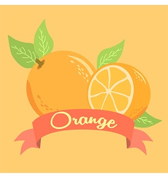Orange fruit design poster with red banner vector
