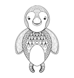 Pinguin for adult coloring page hand drawn vector