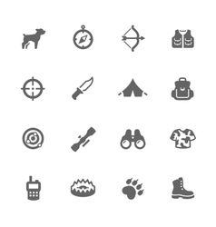 Simple hunting icons vector