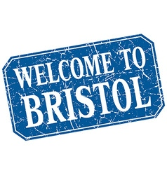 Welcome to bristol blue square grunge stamp vector