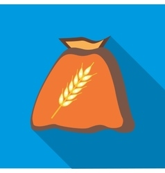 Bag of wheat seeds icon in flat style vector