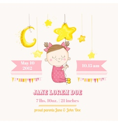 Baby girl sleeping on a star - baby shower vector