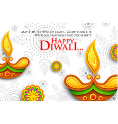 Burning diya on happy diwali holiday background vector