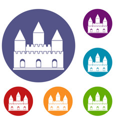 Castle tower icons set vector