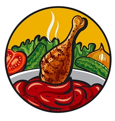 chicken with sauce vector image vector image