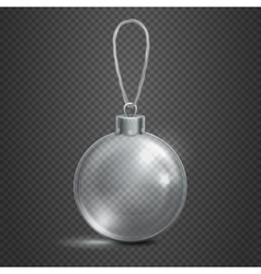 Clear transparent glass christmas toy ball vector image