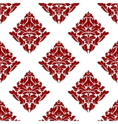 Floral seamless pattern with dark red flowers on vector