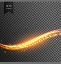 Golden light streak transparent effect background vector