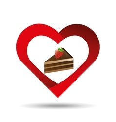 heart cartoon cake sliced chocolate and strawberry vector image vector image