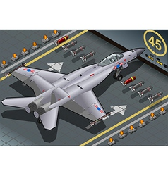 Isometric fighter bomber landed in rear view vector