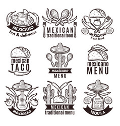label set with traditional mexican symbols food vector image vector image