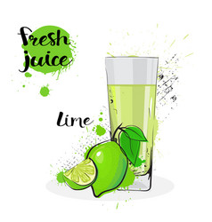 Lime juice fresh hand drawn watercolor fruits and vector