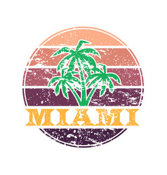Miami colorful label vector