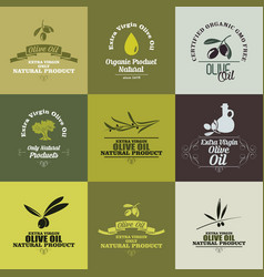 Olive oil labels set vector