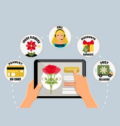 Order flowers online concept vector